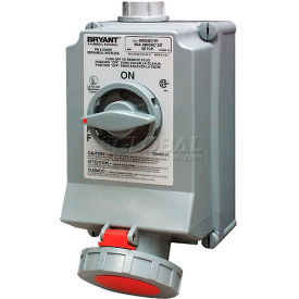 Bryant 432SMI3W Mechanically Interlocked, 4 Pole, 5 Wire, 32A, 380V AC-50Hz, 440V AC-60Hz, Red