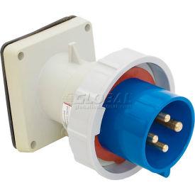 Bryant 460B9W Inlet, 3 Pole, 4 Wire, 60A, 3ph 250V AC, Blue