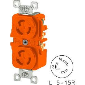 Bryant 4700DRIG TECHSPEC® Duplex Receptacle, L5-15, 15A, 125V, Orange