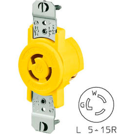 Bryant 4710CR TECHSPEC® Single Receptacle, L5-15R, 15A, 125V, Yellow