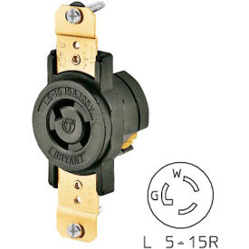 "Bryant 4711BRY TECHSPEC® Single Receptacle;Mounted to 4"" Round Plate, L5-15, 15A, 125V, Black"
