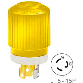 Bryant 4721NPCR TECHSPEC®Plug, L5-15, 15A, 125V, Yellow/White