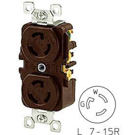 Bryant 4750DR TECHSPEC® Duplex Receptacle, L7-15, 15A, 277V AC, Brown