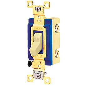 Bryant 4802W Industrial Grade Toggle Switch, Double Pole, 15A, 120/277V AC, White
