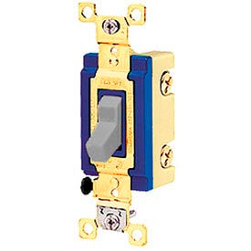 Bryant 4803BGRY Industrial Grade Toggle Switch, Three Way, 15A, 120/277V AC, Gray