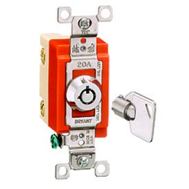 Bryant 4901RKL Barrel Key Switch, Single Pole, 20A, 120/277V AC, Rotary Locking