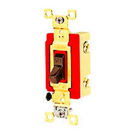 Bryant 4904B Industrial Grade Toggle Switch, Four Way, 20A, 120/277V AC, Brown