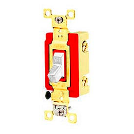 Bryant 4904BW Industrial Grade Toggle Switch, Four Way, 20A, 120/277V AC, White