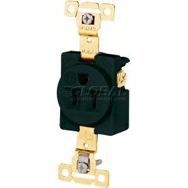 Bryant 5261BLK TECHSPEC® Industrial Grade Single Receptacle, 15A, 125V, Black