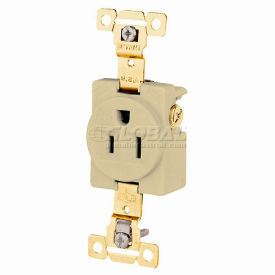 Bryant 5261W TECHSPEC® Industrial Grade Single Receptacle, 15A, 125V, White, Self Ground