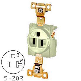 Bryant 5361I TECHSPEC® Industrial Grade Single Receptacle, 20A, 125V, Ivory, Self Ground
