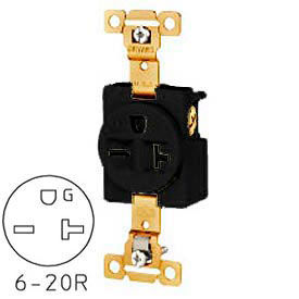 Bryant 5461BLK TECHSPEC® Industrial Grade Single Receptacle, 20A, 250V, Black