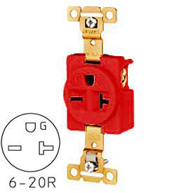 Bryant 5461RED TECHSPEC® Industrial Grade Single Receptacle, 20A, 250V, Red