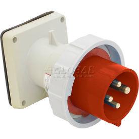 Bryant 560B7W Inlet, 4 Pole, 5 Wire, 60A, 3ph Y 277/480V AC, Red