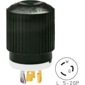Bryant 70520NP TECHSPEC® Plug, L5-20, 20A, 125V, Black/White