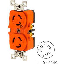 Bryant 70615DRIG TECHSPEC® Duplex Receptacle, L6-15, 15A, 250V, Orange