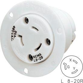 Bryant 70920ER TECHSPEC® Single Receptacle, L8-20, 20A, 600V AC, White