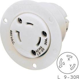 Bryant 70930ER TECHSPEC® Receptacle, L9-30, 30A, 600V AC, White