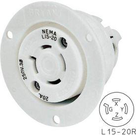 Bryant 71520ER TECHSPEC® Receptacle, L15-20, 20A, 3ph 250V AC, White