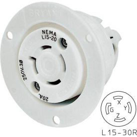 Bryant 71530ER TECHSPEC® Receptacle, L15-30, 30A, 3ph 250V AC, White