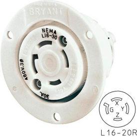 Bryant 71620ER TECHSPEC® Receptacle, L16-20, 20A, 3ph 480V AC, White