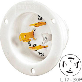 Bryant 71730MB TECHSPEC® Receptacle, L17-30P, 30A, 3ph 600V AC, White