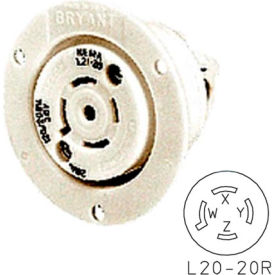 Bryant 72030ER TECHSPEC® Receptacle, L20-30, 30A, 3ph 347/600V AC, White