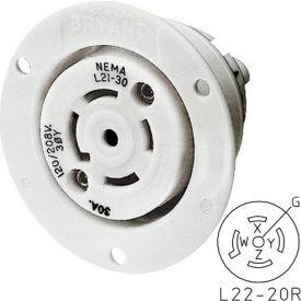 Bryant 72220ER TECHSPEC® Receptacle, L22-20, 20A, 3ph 277/480V AC, White
