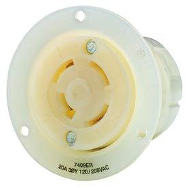 Bryant 7409ER TECHSPEC® Receptacle, 20A, 3ph 120/208V AC, White