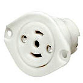 Bryant 7487ER Midget Locking Receptacle, ML-3P, 15A, 125/250V, White