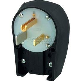 Bryant 9550ANPB Angled Straight Blade Plug, 50A, 125V, Black/White
