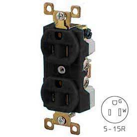 Bryant BRY5262BLK TECHSPEC® Industrial Grade Duplex Receptacle, 15A, 125V, Black