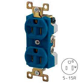 Bryant BRY5262BU TECHSPEC® Industrial Grade Duplex Receptacle, 15A, 125V, Blue