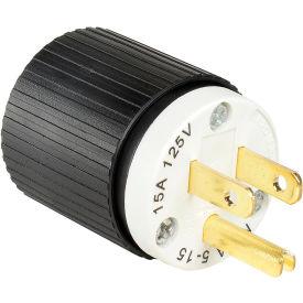 Bryant BRY5266NP TECHSPEC® Straight Blade Plug, 15A, 125V, Black/White