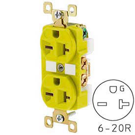 Bryant BRY5462CR TECHSPEC® Industrial Grade Duplex Receptacle, 20A, 250V, Yellow