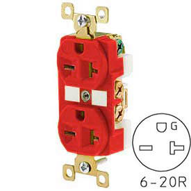 Bryant BRY5462RED TECHSPEC® Industrial Grade Duplex Receptacle, 20A, 250V, Red