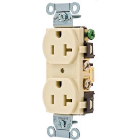 Bryant CRS15I Commercial Grade Duplex Receptacle, 15A, 125V, Ivory