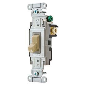 Bryant CS115BAL Commercial Grade Toggle Switch, Single Pole, 15A, 120/277V AC, Almond