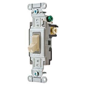 Bryant CS115BI Commercial Grade Toggle Switch, Single Pole, 15A, 120/277V AC, Ivory