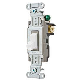 Bryant CS115BW Commercial Grade Toggle Switch, Single Pole, 15A, 120/277V AC, White