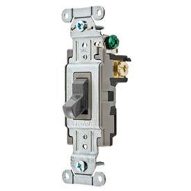 Bryant CSB420BGRY Commercial Grade Toggle Switch, Four Way, 20A, 120/277V AC, Gray