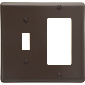 Bryant NP126 Toggle Styleline Combo Plate, 2-Gang, Standard, Brown Nylon