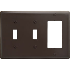 Bryant NP226 Toggle Styleline Combo Plate, 3-Gang, Standard, Brown Nylon, 1Toggle