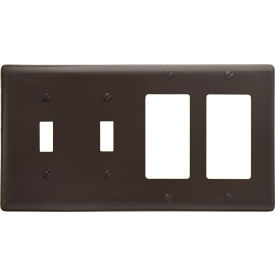 Bryant NP2262 Toggle Styleline Combo Plate, 4-Gang, Standard, Brown Nylon, 2 Toggle