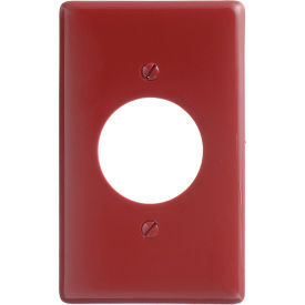 Bryant NP720R Single Receptacle Plate, 1-Gang, Standard, Red Nylon, 1.60 open