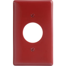 Bryant NP7R Single Receptacle Plate, 1-Gang, Standard, Red Nylon, 1.40 open