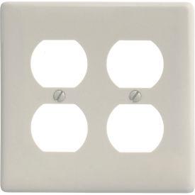 Bryant NP82LA Duplex Plate, 2-Gang, Standard, Light Almond Nylon