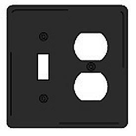 Bryant NPJ18BK Toggle Duplex Combo Plate, 2-Gang, Mid-Size, Black Nylon