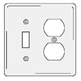 Bryant NPJ18W Toggle Duplex Combo Plate, 2-Gang, Mid-Size, White Nylon