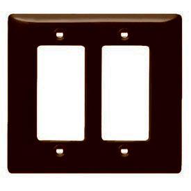 Bryant NPJ262 Styleline Rectangular Plate, 2-Gang, Mid-Size, Brown Nylon